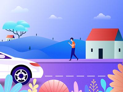 Waiting for car car ui illustration website illustration hero image illustration finding waiting rideshare onlinecar illustration
