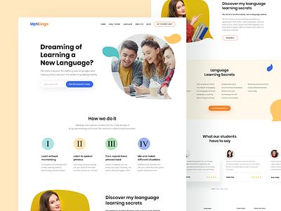 MptiLingo - Landing Page uidesign website design noms edit teacher website education website landing page design learn language language website
