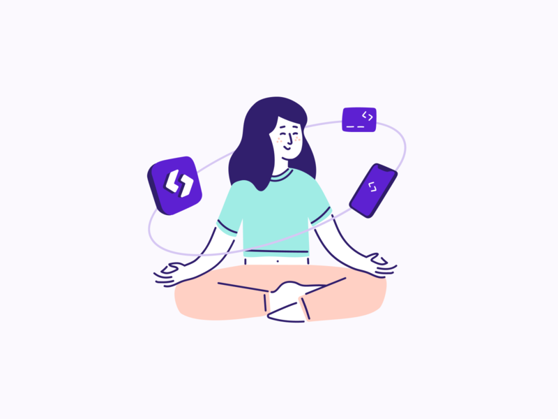 Why Spendesk - Illustration 2/3 💜 identity spendesk yoga zen branding vector outline graphic design illustration design brand