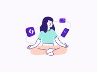Why Spendesk - Illustration 2/3 💜 identity spendesk yoga zen branding vector outline graphic design illustration design brand