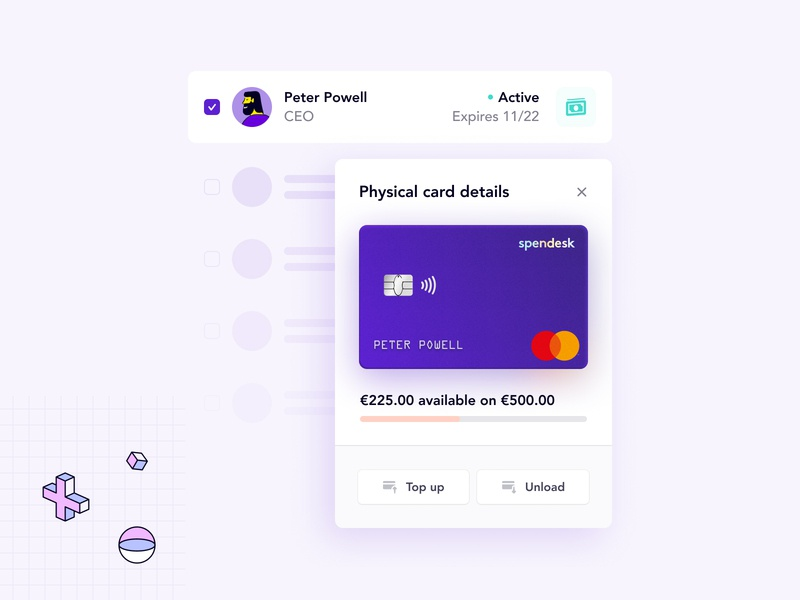 Spendesk product visuals - Employee debit cards 💳 website spendesk product visual product page product fintech expenses debit card branding brand