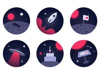 CFO Connect - Badges 🚀 icons brand identity space design awards rewards badges illustration figma