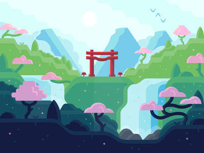 Fates 🌸 zen japanese torii gate torii vector leaves spring woods cherry blossom waterfall scenary landscape illustration teamfight tactics tft riot games