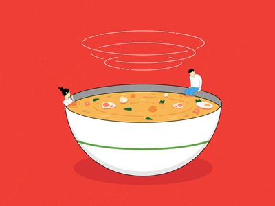 Post-Lunch Vibes illustration mixture ingredients dinner vibes food bowl meal soup lunch broth ramen