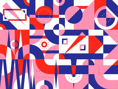 Pattern Play — Part 3 simple abstract layer shape grid geometric color pattern illustration