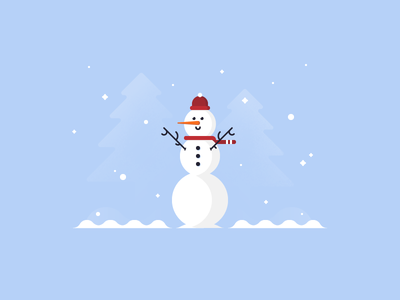First Snow ⛄ ice character holiday carrot christmas vector winter snow december snowman illustration