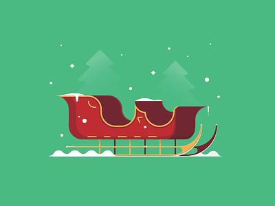 Sleigh winter gift vector snow holidays reindeer santa christmas illustration sleigh