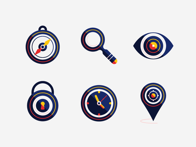 Icon Exploration layer app mokriya pin security compass search icon modern geometric illustration icon