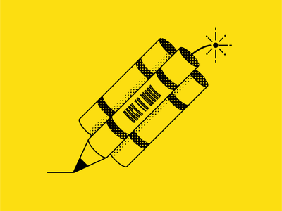 Back to Work mondays dynamite tnt boom explosion pencil icon illustration vector simple