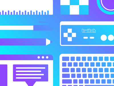 Twitch Essentials simple geometry gradient icon essentials controller streamer game vector illustration twitch.tv twitch