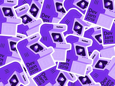 Twitch DevJam Stickers jam icon illustration purple record player hackathon game developer twitch arcade stickermule sticker