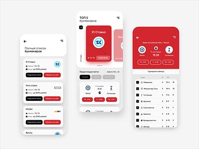 MyBets – bookmaker rating iOS app bookmaker sport design app iosapp ios web-design ux ui football app football