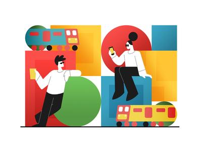 The Train journey creative character daily illustration graphic designer design artwork artist art