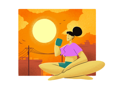 Sunset creative character daily illustration graphic designer design artwork artist art
