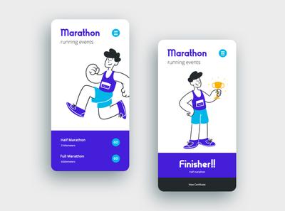 marthon illustration & UI typography ux ui graphic design designer creative artwork design art illustration