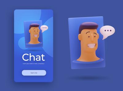 Chat user ux ui graphic design character designer creative artwork design art illustration