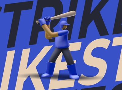 "3D Illustration ""Strike"" dribbble artist graphic design character designer creative artwork design art illustration"