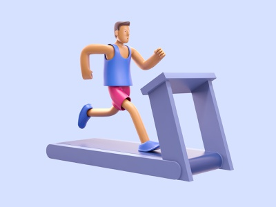 Treadmill run drawing character ux ui designer creative artwork design art illustration