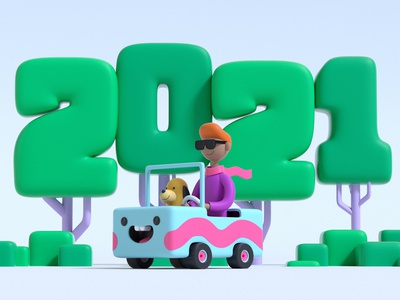 The New year journey drive new year creative design web illustration charater design 3dillustration cute graphicdesign cinema4d 3ddesign daily graphic design artist art character designer creative artwork design illustration