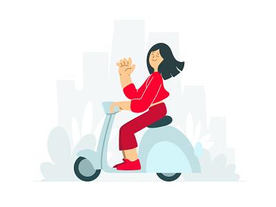 city ride bike plants wave scooter minimalist google girl characterdesign dribbble dribble drawing graphic design artist character designer creative artwork design art illustration