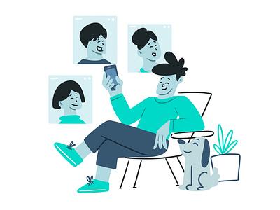 Group chat plant dog concept phone message color clean chat characterdesign dribbble graphic design artist character designer creative artwork design art illustration