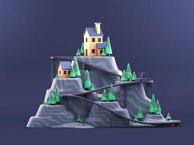 The Island cartoon city 3d art drawing ui graphic design artist character designer creative artwork design art illustration