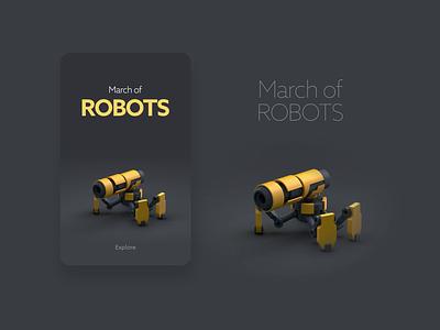 MarchofRobots walk animation robot cinema4d motion design 3d art designer dribbble daily graphic design character creative artwork design illustration