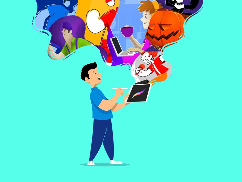 ipad and me creative character daily illustration graphic design designer design artwork artist art