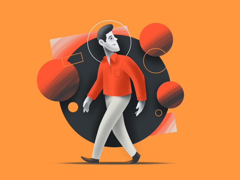 A walk creative character daily illustration graphic designer design artwork artist art