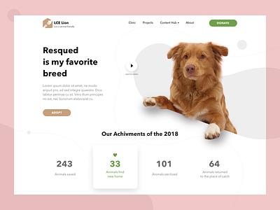 Pet Rescue Organization site concept branding web ui design