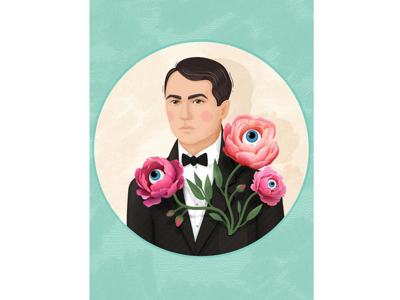 Ukrainian poet Volodymyr Sosyura flowers writer illustration portrait
