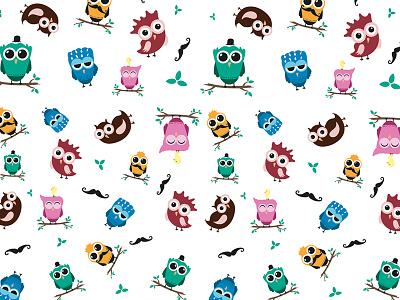 wirusówka. drcichobieg illustration wirusowka pattern owls owl