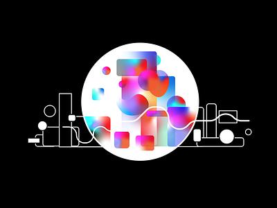 AR gradient flat geometric ar design graphic colorful illustration
