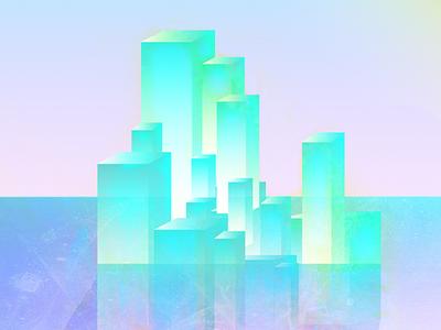 Ice berg bright gradient pop sea design graphic colorful illustration illustrated ice