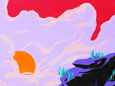 Landred mountain clouds pop graphic colorful illustration