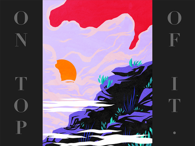 On top of it clouds mountain landscape flat design graphic colorful illustration