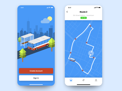 Daily UI #009 illustration bus route map bus isometric app mobile ios iphone concept dailyui