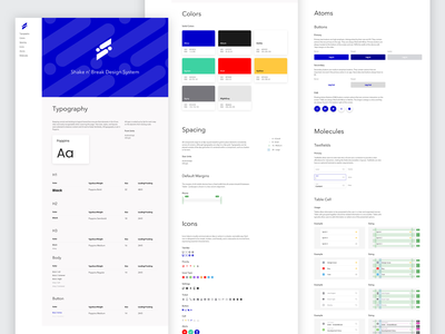 Shake n' Break Design System library style guide molecules atoms design system