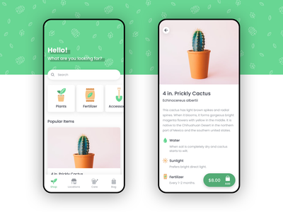 Sapling App illustrations ecommence plants app mobile ios iphone dailyui concept