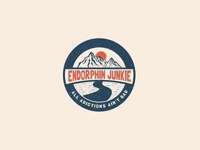 Endorphin Junkie Badge outdoor outdoors adventure explore brand nature mountains mountain logos graphics graphic design logo illustrator photoshop typography vector graphic branding illustration design