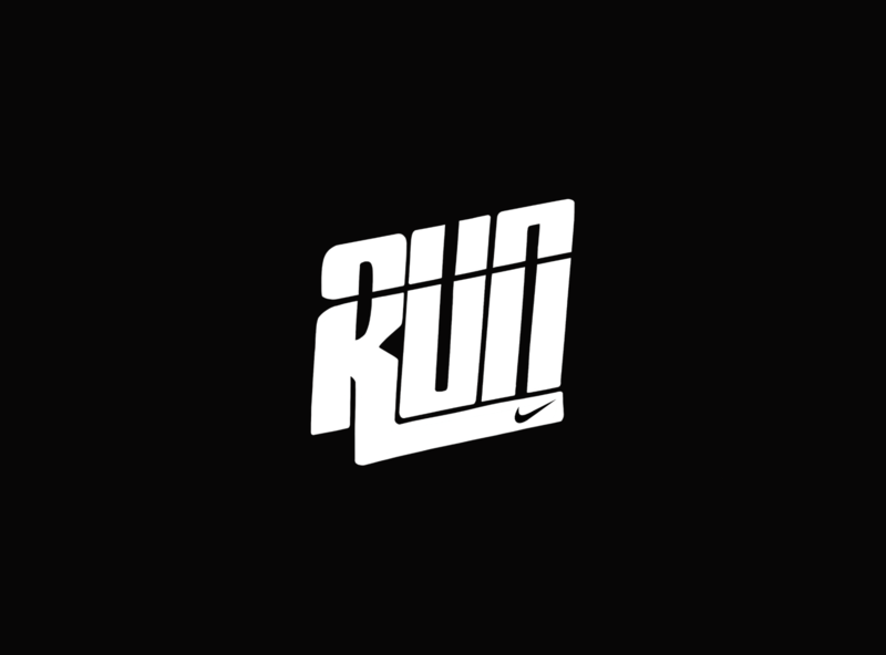 Nike Run Typography runner outdoor adventure logotype logos logo illustrator graphic design graphicdesign brand type design typedesign typeface type typography vector graphic branding illustration design