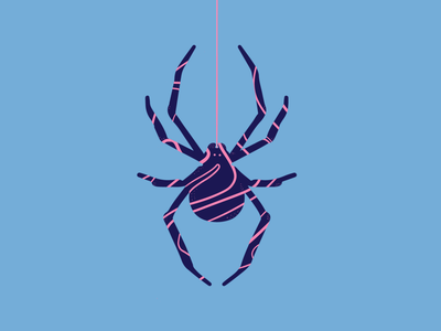Spider-Gum nature insects color draw drawing designinspiration dribbble graphic design creative pink insect bubblegum spider blue logo illustrator graphic vector design illustration