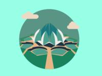 The Lotus Temple - Icon Illustration