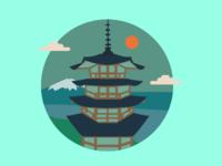 The Chureito Pagoda - Icon Illustration