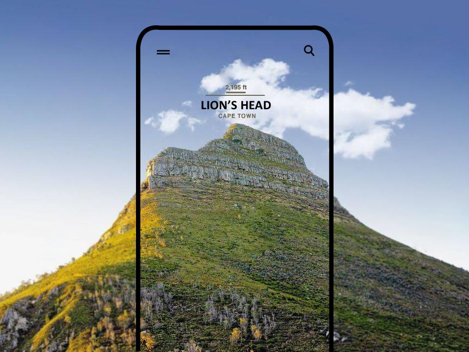 Mobile UI Design - Lion's Head, Cape Town camera app camera mobile app lightroom photoshop minimal photography app app photography photo layout concept mobile design mobile ux ui typography design