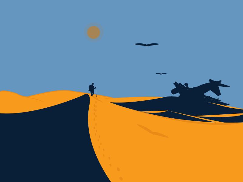 The Sahara art travel landscape artwork artist explore adventure journey bird plane editorial illustrations scenery desert character blue design vector graphic illustration