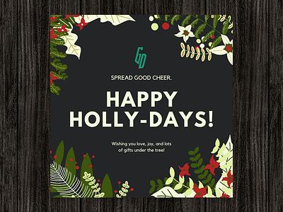 Happy Holidays Greeting Card! 🎄 illustration art illustrations xmas merry christmas flowers plants holiday card design holidays festive christmas card illustrator graphicdesign typography vector graphic design branding illustration