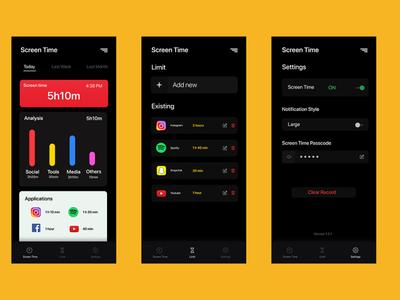 Screen Time Application - UI Design userexperience user interface design ux darkmode dark user interface ios figmadesign figma app adobe ui dribbble design