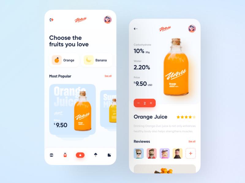 Online Food App food app food and drink navigation bar icecream juice food