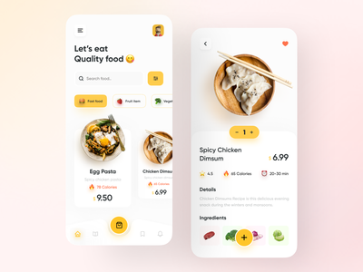 Food Delivery App. android ios application appdesign ux ui clean colour color navigation bar restaurant delivery fruit trend minimal foodapp food